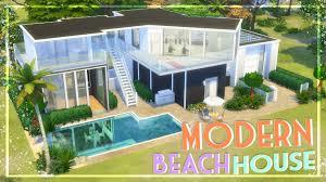 Modern Beach House The Sims 4 Speed Build Modern Beach House Youtube