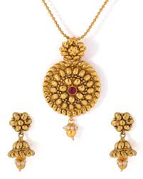 gold pendant necklace set images Buy gold tone traditional necklace set with red stone adornment jpg