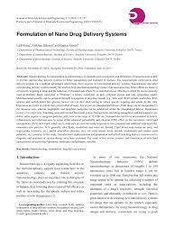 formulation of nano drug delivery systems pdf download available