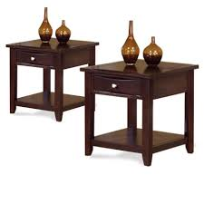 Cherry Accent Table Two Espresso Dark Cherry Finish Side End Tables Wood Set