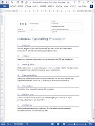 standard operating procedure ms word u0026 excel template