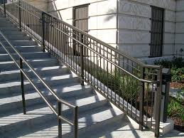 Exterior Stair Handrail Kits Durable Outdoor Wrought Iron Stair Railing For Deck Decoration