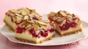 almond streusel cherry cheesecake bars recipe bettycrocker