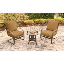 3 Piece Patio Set Summer Nights 3 Piece Fire Pit Chat Set With Two C Spring Chairs