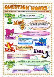 question words grammar guide poster u0026 exercises key included