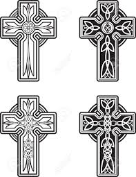 a variety of black and white celtic cross designs royalty free
