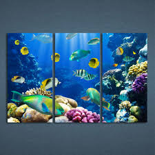 3 panels canvas art tropical coral color fish home decor wall art