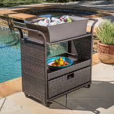 amazon com bar cart utility rolling wheels wicker kitchen island amazon com bar cart utility rolling wheels wicker kitchen island storage portable table indoor outdoor backyard patio food drinks serving trolly bar cart