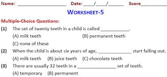 class 4 practice worksheets on our food teeth and digestion