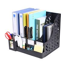 File Desk Organizer by Multifunction Storage Four Sections File Rack Paper Magazine