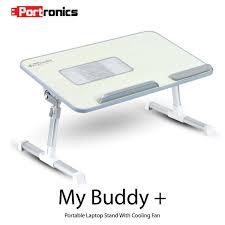 portronics por 704 adjustable laptop cooling table portable