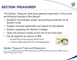 pta treasurer report template standards certification education training publishing section treasurer the section treasurer shall have general supervision of the funds and financial records of