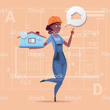 cartoon female builder holding small house ready real estate over