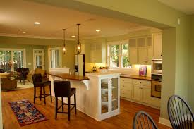interior archaic open floor plan kitchen dining living room