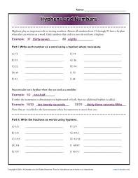 hyphens and numbers reading worksheets spelling grammar