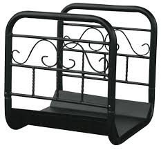 uniflame large black log rack with wheels and removable cart
