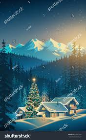 Landscape With Houses by Winter Festive Mountain Landscape Houses Christmas Stock