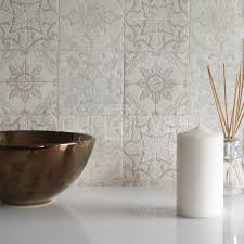 moroccan tile u0027 geometric tile effect wallpaper in grey beige