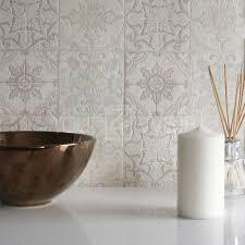 Moroccan Bathroom Accessories by Moroccan Tile U0027 Geometric Tile Effect Wallpaper In Grey Beige