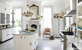 Kitchen Ideas Kitchen White Bar Stool Grey Countertops Hanging Lamps Brown