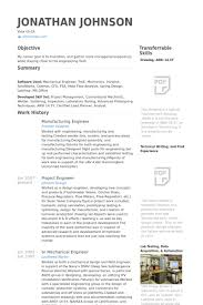 Resume Sample Of Mechanical Engineer Manufacturing Engineer Resume Samples Visualcv Resume Samples