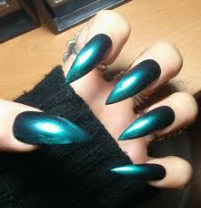 gothic holographic chrome stiletto nails long or short