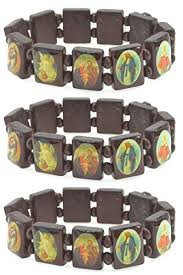 religious bracelet religious wood bracelet set of three with pictures icons