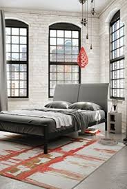 Grey Upholstered Headboard Amisco Industries 60 Inch Black Coral Reflex Metal Bed With Light