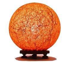 buy orange ball table lamp with banana fiber and wooden base