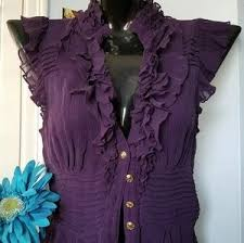 bebe blouses bebe bebe purple sleeve ruffle sheer top blouse from posh