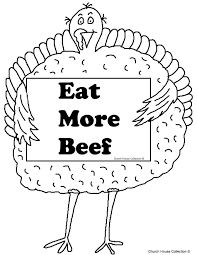 turkey holding sign eat more beef coloring page