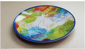 2pc melamine dinnerware set hamsa mandala round plates 2sized