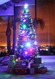 8 ft pre lit multi color led fiber optic tree bright
