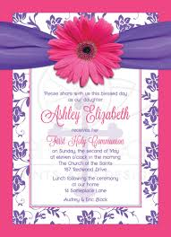 Holy Communion Invitation Cards Communion Invitation Pink Gerber Daisy Purple Damask