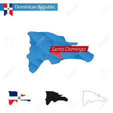 Poly Flag Dominican Republic Blue Low Poly Map With Capital Santo Domingo