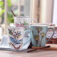 jankng 435ml retro ceramic coffee mugs hand painted coffee mug cup