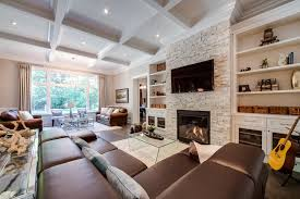 Stackable Stone Fireplace With Built Ins On Each Side For - Family room built ins