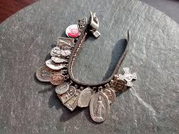 thanksgiving story bracelet poem unique 20 sterling plated saint medals cross leather buckle st