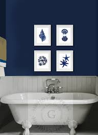 Bathroom Art Ideas For Walls Colors Summer Navy Blue Wall Art Set Of 4 Beach Decor By Gnosissealifeart
