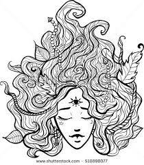 portrait mystic spirit paganism vector stock vector 510890077