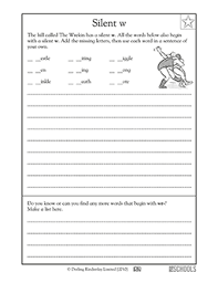 3rd grade writing worksheets silent w greatschools