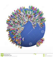 3d colorful different around earth world globe stock