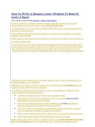 Authorization Letter Format For Internet Connection letter of intent to rent or lease a space hamburgers meal