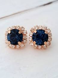 navy blue earrings gold navy blue earrings navy blue bridesmaid gifts studs