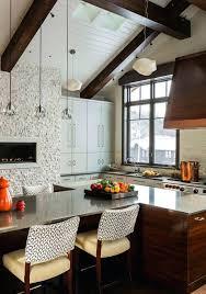 kitchen showcasing cozy fireplace stone designs fireplaces photos
