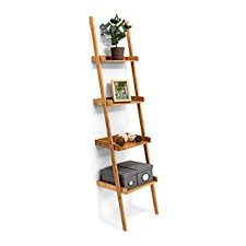 relaxdays wooden shelf bamboo bookcase 4 shelves 176 x 44 x 37 cm