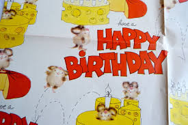 cheese wrapping paper vintage wrapping paper happy birthday cheese mice sheet