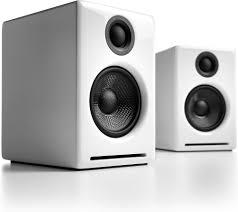 audioengine a2 high gloss white powered desktop stereo speaker