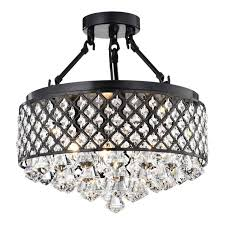 antique black semi flush mount crystal chandelier 4 light ceiling