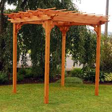 a u0026 l furniture cedar pergola with optional curtain hayneedle